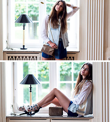 Michèle Krüsi - Minkpink Vest, Patchwork Shorts, Jeffrey Campbell Booties, Saint Laurent Bag - Leo Kinda Booties