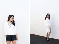 Stephanie N. - Nasty Gal Necklace, Zara Shorts, Jyjz Sheer Trench - Trenched