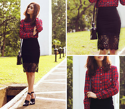 Aileen Belmonte - Stylemoi Lace Skirt, Zara Ankle Strap Boots - His and Hers