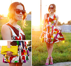 Iren P. - Mart Of China Graffiti Art Print Dress, Fuchsia Heeled Sandals, H&M Yellow Clutch, Diy Flower Hair Spinners, River Island Pack Of Golden Midi Rings, Aldo Pack Of Silver Midi Rings - GRAFFITI ART