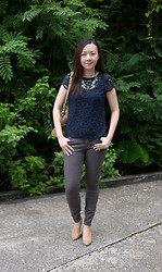 Rita C - No Brand Statement Necklace, Dorothy Perkins Lace Tee, Gap Brown Jeans - Statement_091214