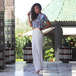 Larissa B. - Primark White Stripy Heels, Mango Highwaist White Wide Flare Pants, Primark Loose Wide Fit Oversize Crop Top - If you give me the stars, I promise you the sun