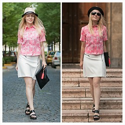 Gabriella B - New Look Pink Palm Print Shirt, New Look Straw Trilby, Topshop White Biker Zip Skirt, H&M Embossed Black Tassel Clutch, Paul's Boutique Neon Pink Tassel, Asos Black Minimal Leather Sandals - REPRESENT CUBA