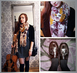 Marie M. - H&M Shawl, Pull & Bear Moccasins, H&M Soft Sweater - Knee Socks