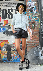 Gizele Oliveira - Zara Top, Forever 21 Shorts, H&M Hat, Urban Outfitters Backpack, Jeffrey Campbell Boots - Basic days