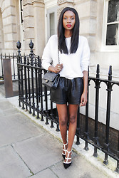 Natasha N - Leather Shorts, Jewel Heels, Sweatshirt - LFW ss15