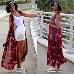 Alexa C - Kimono Vest, Bodysuit, High Waist Shorts, Shoe Cult Flatforms, Floral Crown - The Promise
