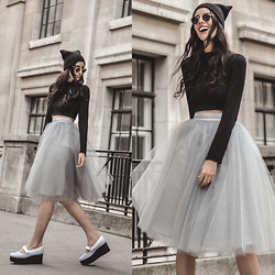Elle-May Leckenby - Alexandra Grecco Dusty Blue Tulle Skirt, Charles & Keith Platform Mary Janes - Cat or fairy? LFW day 1