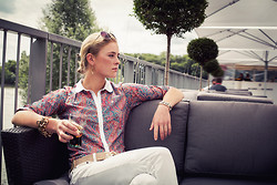 Olivia M - Elpidea Liberty Fabric Shirt, Elpidea White Skinny Cotton Pant - Chilling on the terrace