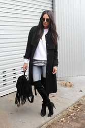Lisa O - H&M Mac Coat, Etre Cecile Jumper, Bassike Tee, Witchery Boots, Asos Backpack, Sportsgirl Sunglasses - Round She Goes