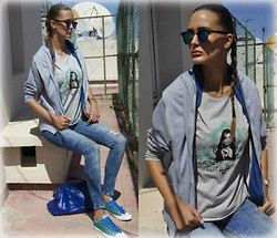 Amina Allam - Giant Vintage Mirrored Sunnies, Black Five Hooded Jacket, Cuckoo Complex Printed Tee - Grey hoodie & printed t-shirt