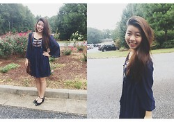 Dani Dinh - Jeffrey Campbell Black Wedges, Marshalls Blue Dress, Target Brown Messenger Bag - Church flow
