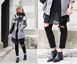 Gabrielle Lacasse - Choies Ripped Jeans, S E N O Zipped Boots, Daniel Wellington Watch, Oasap Checkered Coat, Oasap Long Shirt, Bizou Plaid Scarf - Layering is back