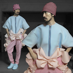 Andre Judd - Joey Samson Pastel Blue Neoprene Top, Pink Striped Beanie, Jairus Sumineg Draped Neoprene, Protacio Candy Pink Trousers, Sky Blue Laceups - ICING ON THE CAKE