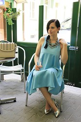Magda M. - Simple Cp Dress, Bershka Heels, Zara Necklace - Baby blue
