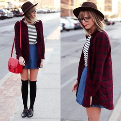 Steffy Degreff - Forever 21 Plaid Top, Forever 21 Red Satchel - Fall Feeling.