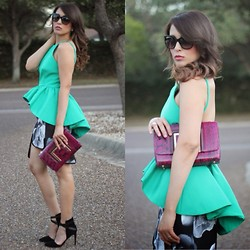 Laura Reynoso - Cameo The Label Top, Jimmy Choo Clutch, Joe's Jeans Heels, Cameo The Label Skirt - Green tutu