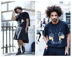 Oli Worlds - Givenchy Dobremen Tee, Givenchy Kilt, Dr. Martens Leather Boots, Rabbit Hole Scarf - LONDON FASHION WEEK SS15 DAY 1