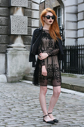 Hannah Louise - French Connection Uk Embellished Dress, Missguided Faux Suede Biker Jacket, Asos Pointed Flats - LFW Day 2