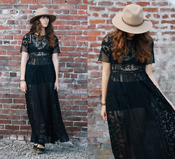 Tonya S. - Urban Outfitters Panama Hat, Free People Tulip Maxi, Free People Belmont Clog - See Through