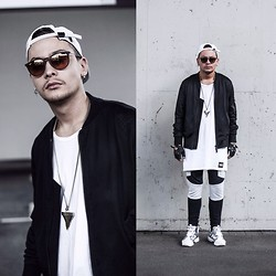 Mago Dovjenko - Givenchy Shark Tooth Necklace, Reebok X Ambusu Pump Fury, Adyn Panel Pants, Easy Money Clothing Long Tank Top, Adyn Mesh Bomber Jacket, Naviiv Cap, Ray Ban Glasses - B/W PANEL