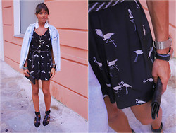 Jeanne - Zara Denim Jacket, Sandro Dress, H&M Belt, Zara Cut Out Sandals, Mango Clutch, Topshop Earrings, Guess? Watch - Bird of Paradise Sandro Dress