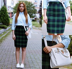 Andreea Ristea - Tom Tailor Blue Shirt, Andreea Design Tartan Skirt, Slip On, White Bag - Back to school outfit | Green tartan skirt