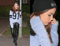 Jessica Sheppard - Ebay Bad Hair Day Beanie, Celeb Look Basketball Fluffy Jumper, H&M Leather Skinny Trousers, New Look Lace Up Heeled Boots - NIGHT.