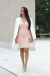 Mayte Doll - Misguided Oversize White Blazer, Missguided Blush Knit Mini Dress, Shoedazzle Heels - Shades Of Blush