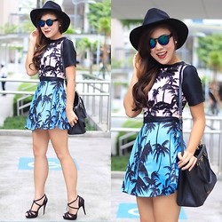 Desiree Adrienne Lim - Mags Dress, Forever 21 Hat, Prada Bag, Mags Heels - Palm trees