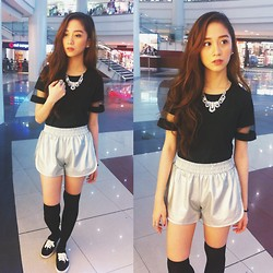 Chin Chin Obcena - Chic Boutique Mesh Shirt, Forever 21 Shoes, Penshoppe Necklace, Penshoppe Ring, Online Shop Shorts - Black To Black