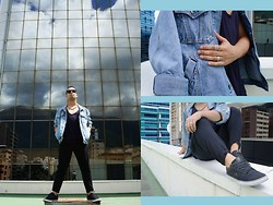 DIEGO GiL - Zaratrf Black Pants, Orion Sport Shoes, Vintage Store T   Shirt, Vintage Jacket Dad Denim Oversized, Balu Rings, Zara Accesories, Balu Sunglasses - BLACK, DENIM OVERSIZED!