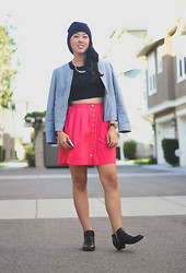 Rachel Park - Forever 21 Beanie, H&M Cropped Tank, Korea Fitted Jacket, Thrifted Hot Pink Skirt, Asos Watch, H&M Studded Boots - NYFW in LA?