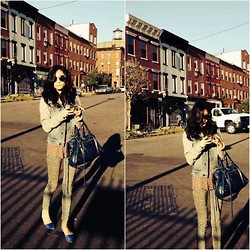 Cleo Y. - Free People Denim Hoodie, Balenciaga Classic City Bag, Free People Printed Skinny Jeans, Jeffrey Campbell In Love Suede Flats - Greenpoint Last Fall