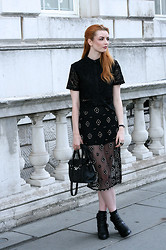 Hannah Louise - Missguided Blouse, Topshop Embellished Skirt, Primark Bag, Missguided Boots - LFW Day 3