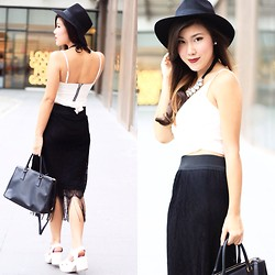 Desiree Adrienne Lim - Forever 21 Hat, Ripples By Jenny Skirt, River Island Heels, Prada Bag - Black & White