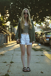 Stacey Belko - American Eagle Jacket, Urban Outfitters Croptop, Minkpink Shorts, Steve Madden Sandals - So long sweet summer.
