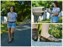 Siobhan Says - Basic Editions Leather Flats, Thrifted Striped Shirt, Gap Shorts - Mail Time