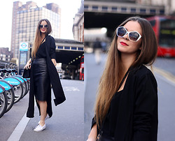 Kylie Lawson - Boohoo Duster Coat, Whistles Leather Skirt, Zerouv Sunglasses - Duster