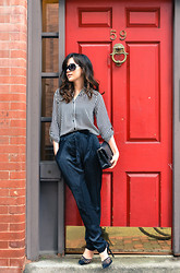 Diana Z Wang - Striped Shirt, Bcbg Silk Tapered Pants With Patches, Schutz Black Pumps - Striped shirt x silk pants