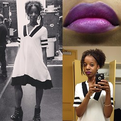 Dara H. - H&M Jersey Dress, Mac Heroine + Black Lip Mix - Purple Ombre, Jersey Dress