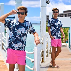 Alexander Liang - H&M T Shirt, Maui And Sons Swim Trunks - Dockside in Waikiki