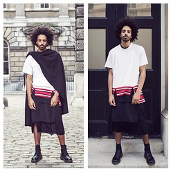 Oli Worlds - Rabbit Hole London Scarf, Givenchy White And Red Stripe Tee, Givenchy Black Tee, Givenchy Belt Skirt, Rick Owens Black Dress, Dr. Martens Leather Boots - LONDON FASHION WEEK SS15 DAY 3