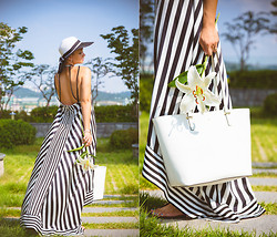 Olga Choi - Choies Stripe Long Dress, Kate Spade Tote Bag, Blackfive Floppy Twotone Hat - Gone with the wind