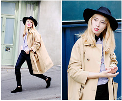 Typhaine - Frontrowshop Trench, Catarzi Hat, Vintage Shirt, Light Before Dark Jeans, Kiomi Shoes - Zalando Privé