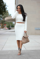 Mayte Doll - Missguided Crop Top Sweater, Missguided Midi Skirt, Calvin Klein Heels, Aldo Bag - White Crop Top Sweater & Midi skirt.