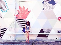 Cleo Y. - H&M Beatles Muscle Tank, Reverse High Waist Leopard Stud Denim Shorts, Hush Puppies Blondelle, Balenciaga Classic City Bag - Pastel Murals