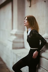 Tahti Syrjala - Asos Collar, American Apparel Black Lace Dress, Thrifted Belt, Asos Lilac Ring - Lace in London