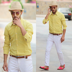 Faissal Yartaa - Choies Yellow Round Lens Sunglasses With Metal Frame, Riudavets Red Sandal - VINTAGE LIFE