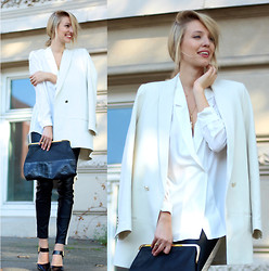 Leonie Hanne - Just Female Leather Pants, Set White Blouse, Set Oversized Blazer, Massimo Dutti Clutch, Zara Black Heels - Leather pants & Oversized classics